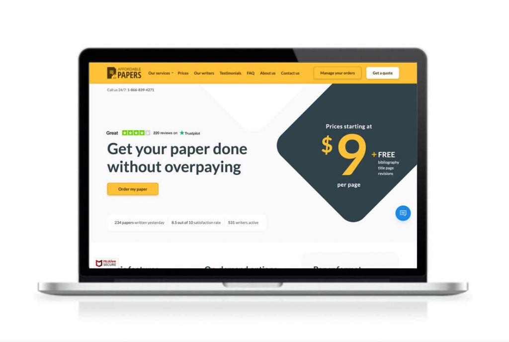 AffordablePapers website preview
