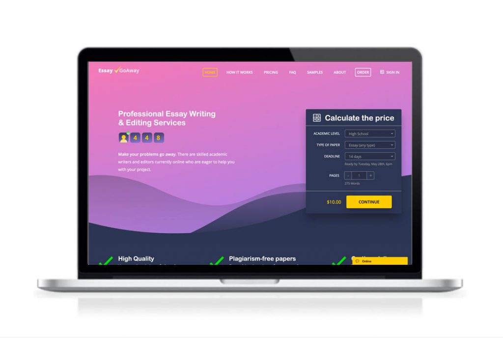 EssayGoAway website preview