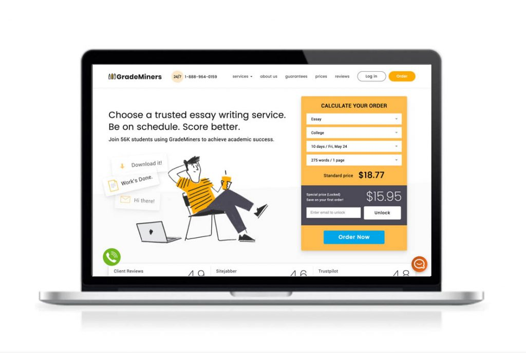 GradeMiners essay writing service website preview