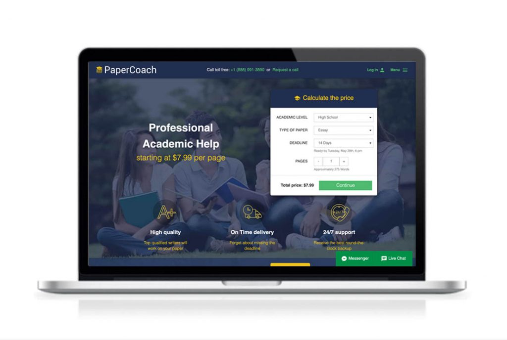 PaperCoach website preview