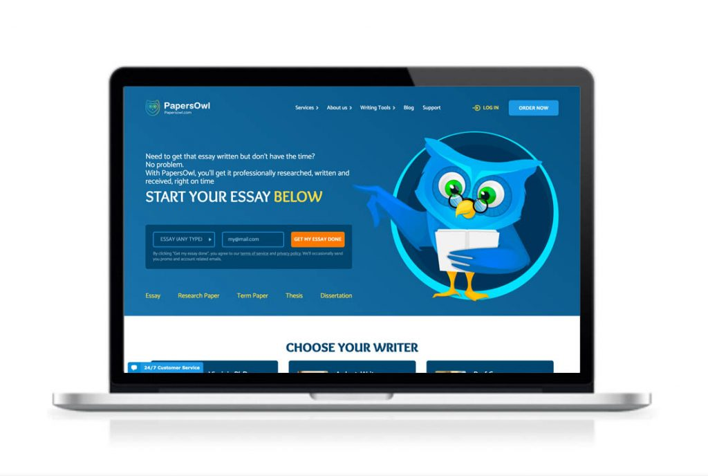 PapersOwl website preview