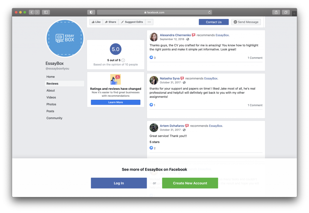 Reviews of EssayBox on Facebook